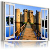 ENGLAND BODIAM CASTLE 3D Window View Canvas Wall Art Picture Large SIZES W489