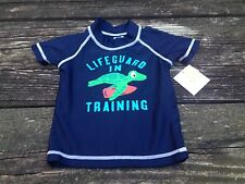 NWT Carters Swim Shirt Rash Guard Cover Up Navy 18 Months Life Guard In Training
