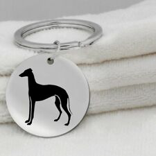 Italian Greyhound Iggy Dog Canine Black Silver Stainless Steel Keychain