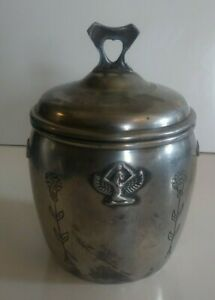Antique Benedict Karnak Brass Egyptian Revival 1920's Cigar Humidor Jar #379