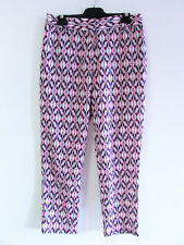 Sussan Sz 10 Pink Purple Hazy White Ikat Print Draped Tapered Leg Relaxed Pants
