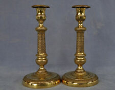 Paire de Bougeoirs en Bronze Ciselé et Doré Candlesticks 1er Empire Début 19ème