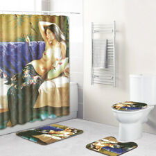 Nude Female Bathroom Rug Shower Curtain Skidproof Toilet Lid Cover Bath Mat Set