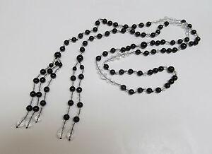 Art Deco Genuine Black Onyx & Crystal Bead Lariat Necklace