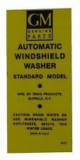 1956 1957 1958 Cadillac Windshield Washer Bottle Decal