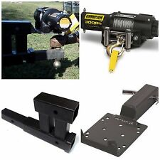 Portable Electric Winch with Hitch Receiver Mounting Kit ATV Trailer Truck Plate