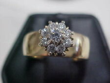 Ring 10K Yellow Gold sz7 *Vintage*.36ctw Natural Diamond Floral Promise
