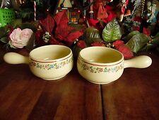 2 Vintage Avon Soup Bowls W/Handle Egg Shell Color Floral Design