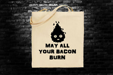 Howls Moving Castle Calcifer inspired tote bag long handles Studio Ghibli
