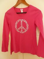 NWT JUSTICE Girls 12 Bright Pink SILVER METALLIC PEACE TOP Long Sleeve Shirt