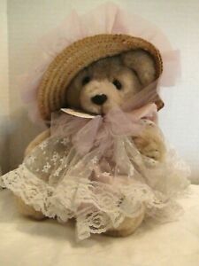 Bearly People Stuffed Plush Lady Bear In Floral Dress And Matching Bonnet