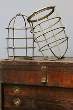 Vintage Nautical brass or bronze light cage cover globe maritime ship boat lamp