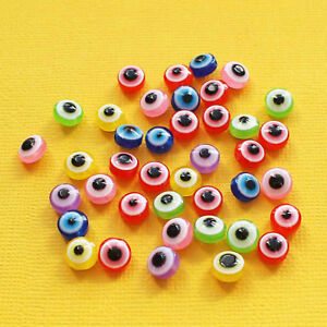 50 Evil Eye Beads High Quality Resin with Bright Colors BD126