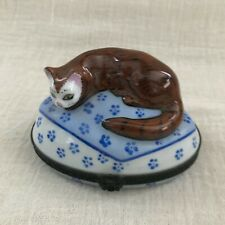 New ListingLimoges Porcelain Trinket Box, Brown Cat on Oval Blue & White, for Horchow