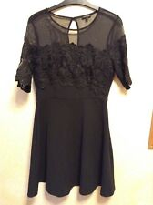 ❤️  River Island❤️ Size 10 Black Floral Lace Mesh Skater Dress, Party, Prom
