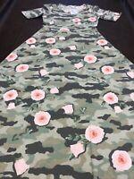 LuLaRoe Ana Major Unicorn 🦄 Camouflage Blush Pink Roses Long Maxi Dress Camo XL