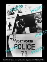 OLD LARGE HISTORIC PHOTO OF FORT WORTH TEXAS, THE POLICE K-9 DOG UNIT c1970s