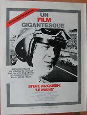 STEVE MC QUEEN . FILM : LE MANS . 1 X FEUILLET DOUBLE FACE PUB . 21 X 27 CM .