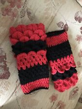 Hand Crochet Dragon Scale Fingerless Gloves ~ Boho, Hippy ~ Red & Black Acrylic