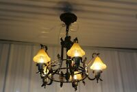 ANTIQUE ART DECO 5 BELL GLASS SHADE CEILING LIGHT FIXTURE CHANDELIER MEDIEVAL