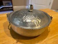 Vintage Estate 50's Hammered Aluminum Bowl And Lid – Floral Design