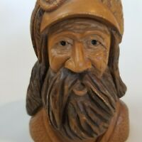 Vintage Detailed Hand Carved Wood Explorer Mountain Man Face Sculpture Signed