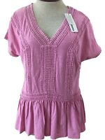 Sonoma top short sleeve pink Size M or L NEW womens cotton