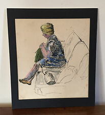 Watercolor Painting Drawing Sketch Woman Knitting Pen & Ink 1930 1940 Portrait