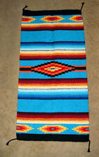 "Saltillo Mexican Throw Rug Tapestry Southwestern  20x40"" Woven TURQUOISE BLUE"