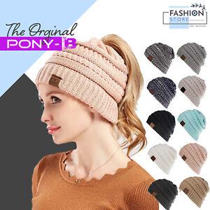 Womens Ladies Ponytail Beanie Winter Warm Knitted Hat Pony Cap Grey Black UK