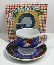 Mary Engelbreit Time For Tea Cup & Saucer Set Reading Believe Christmas Santa