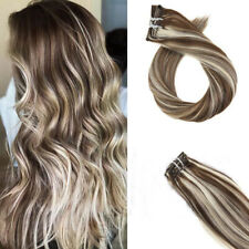 Clip in Human Hair Extensions 100% Real Remy Hair Color#60/9/60 Long Weft Head