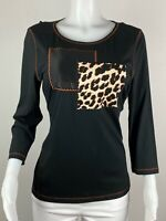 Chicos Women Size 2 Or L Black Leopard Neckline 3/4 Sleeves Blouse Top Shirt Tee