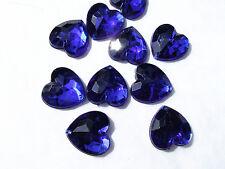 80 Blue Faceted Love Heart Beads 16 Mm Acrylic Rhinestone Gem Flatback Stitch on