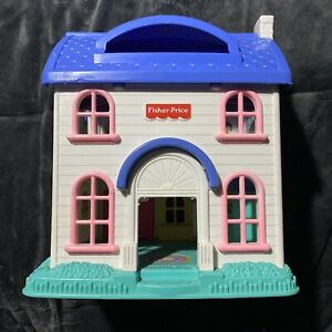 Fisher Price Little People Fold Out Blue/White Two Story Doll House (1996)