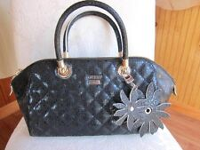 GUESS Black Quilted Satchel Bag Purse Handbag Sac Flower  Key Fob~Fully Opens