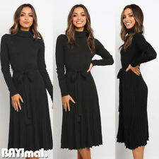 Womens High Neck High Waist Long Sleeve Midi Dress Ladies Casual Pleated Belted