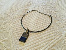 Vintage 90s Choker Necklace Pendant Blue Stone Silver Steel Hanging