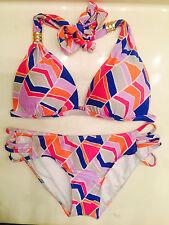 Gianni Bini Bikini *NWT & sanitary lining*  Colorful. Gold Hardware Pushup Top
