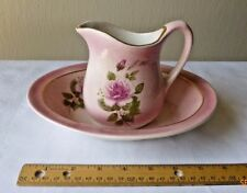 Vintage Ceramic Pitcher and Water Basin Roses Pink Small Dainty Dresser Decor