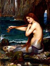 "Classic Nude Mermaid in Sea Cave 8.5x11"" Photo Print John William Waterhouse Art"