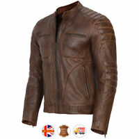 Mens Motorcycle Vintage Distressed Brown Genuine Leather Jacket Slim Fit Biker