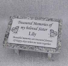 Laser Etched Personalised Grey Granite Memorial Grave Plaque Stone Ornament