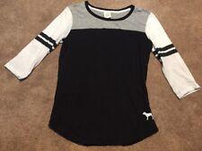 Victoria's Secret PINK Black Gray Shirt Top Size Small