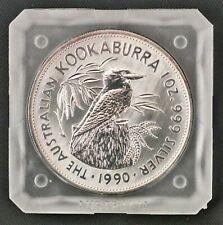 1990 Australia $5 Kookaburra 1 oz .999 Fine Silver Coin in Square Capsule