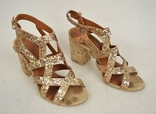 Givenchy Sandals Gold Glitter Block Heel Gladiator Strap 36 Italy