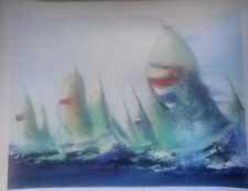 JULY SAILS BY VICTOR SPAHN W/COA SERIOLITHOGRAPH SIGNED IN THE PLATE