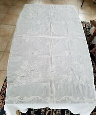 """Antique White Embroidered Tablecloth 80"""" x 62"""""""