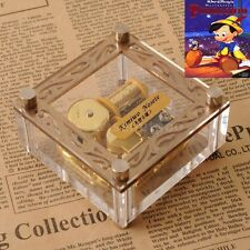 ACRYLIC CUBIC GOLD WIND UP MUSIC BOX :  When You Wish Upon A Star