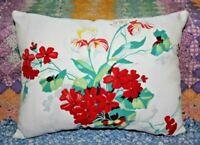 Vintage Wilendur Farmhouse Geraniums Iris Mid Century Tablecloth Lumbar Pillow